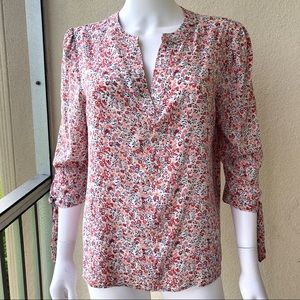 Cynthia Rowley Size Med Rose Floral Print Blouse